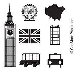 london elements over white background vector illutration