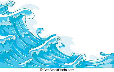 Waves - Illustration of Waves Splashing Against a White...