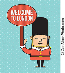 london guard with welcome announcement vector illustration