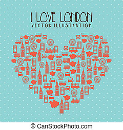 london elements - i love london illustration over blue...