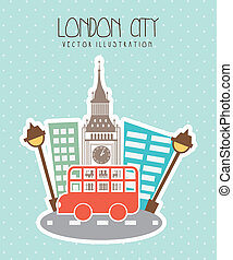 london city with big ben and bus. vector illustration