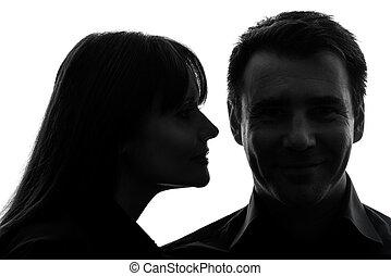 couple woman man close up portrait silhouette - one...