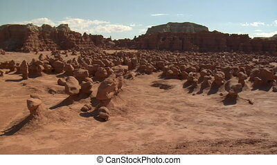 panning shot across goblin Valley Utah right to left