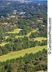 curso,  3, aéreo, golfe, vista