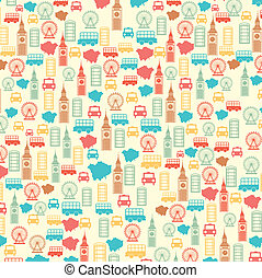 london elements - london pattern over beige background....