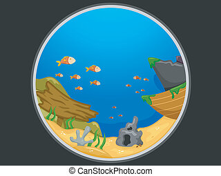 Telescopic View of an Underwater Scene - Illustration...