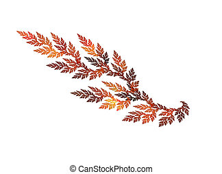 Fractal leaf colored in autumnal gamma isolated over white