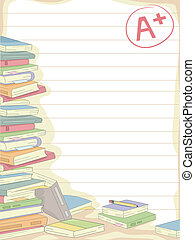 Books Background - Background Illustration of a Stack of...
