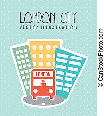 london city with buildings and bus. vector illustration