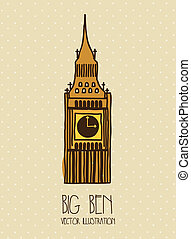 big ben cartoon over beige background vector illustration