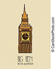 big ben cartoon over beige background. vector illustration