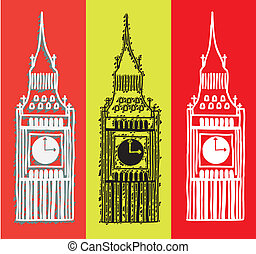 big ben over colorful background, handrawing vector...