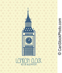 big ben over beige background vector illustration