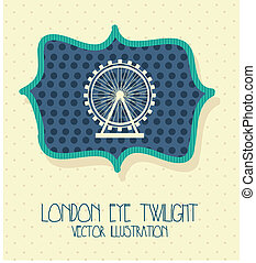 london city with eye twilight label vector illustration