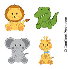 baby animals isolated over white background. vector...