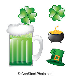patricks day elements isolated over white background vector