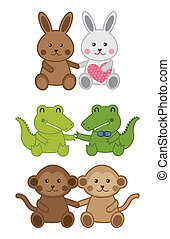 baby animals - cute animals isolated over white background....