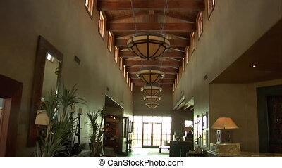 steadicam shot into large resort hotel