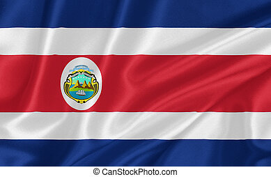 Flag of Costa Rica waving with highly detailed textile...