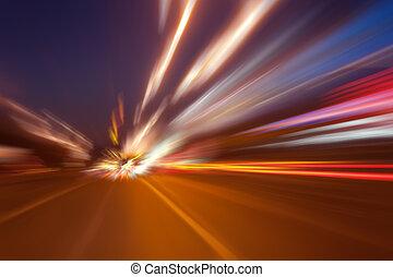 de alta velocidad, movimiento, noche