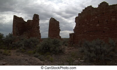 dark red brick ruins at at Hovenweep national Monument