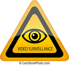 Video surveillance warning vector sign