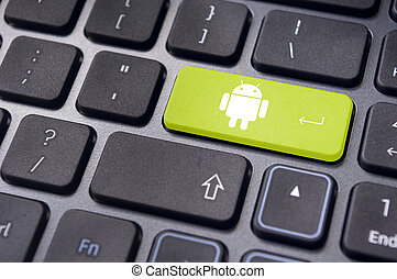 android operating system logo on keyboard enter key -...