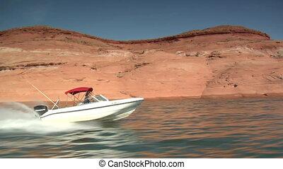 ski boat on Lake Powell Utah