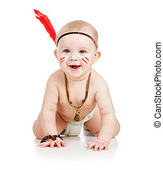 cheerful baby toddler isolated on white background