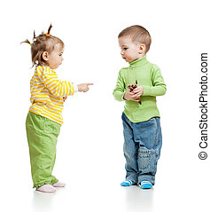 children boy and girl eating ice cream in studio isolated