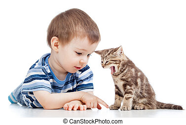 kid boy playing with cat kitten