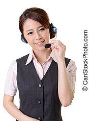 Friendly secretary or telephone operator on white background...