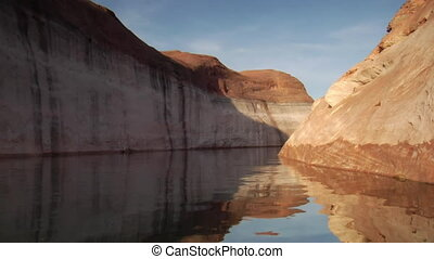 extreme slow-motion Lake Powell canyons Utah  three