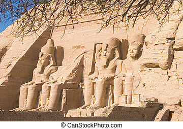 Temple of Abu Simbel - Statues of stone of the temple of abu...