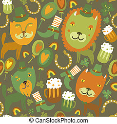 Seamless St.Patrick's day pattern with cats