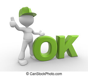Ok icon - 3d people - man, person standing near to an ok...