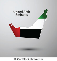United Arab Emirated flag on map of country