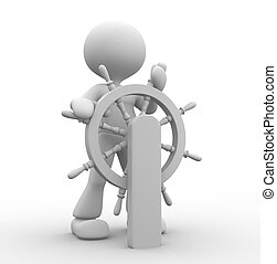 Helmsman - 3d people - man, person and at a helm Helmsman
