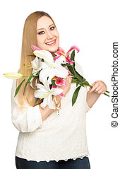 overweight woman lillies bouquet - Overweight woman hodling...