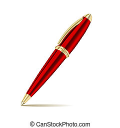 pen isolated on the white background - Red pen isolated on...