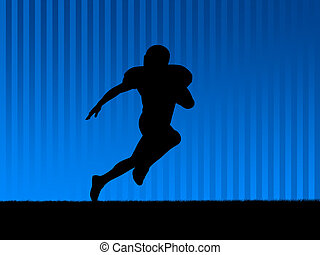 American football background blue - American football player...