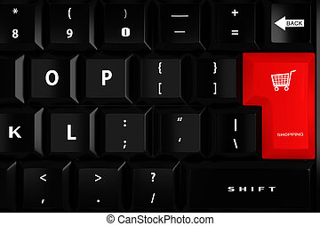 3d keyboard with a big red shopping key