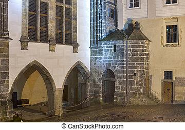 Inner yard of medieval castle in Prague
