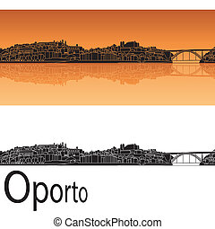 Oporto skyline in orange background in editable vector file