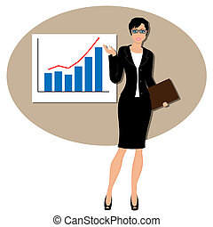 Beautiful business woman pointing to rising business trends