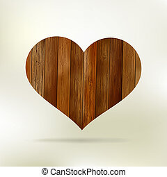 Wooden structure in the form of heart. EPS 8