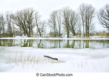 winter river - snow-covered winter river Nature composition