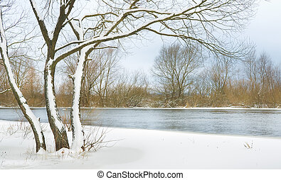 winter river - snow-covered winter river