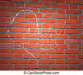light over heart sign drawn by white chalk on red brick wall, environment details