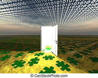 Doorway in landscape with binary streaming and puzzle...